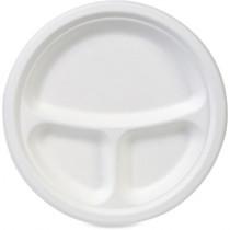 "WHITE PLASTIC PLATES 10"" 3 COMPARTMENT"