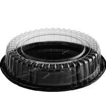 Clear/Black Round Hindge Cake Container